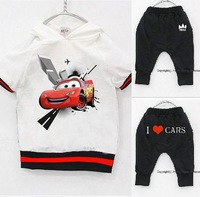 Hot 2013 New Design Retail Children's Cartoon Suit 2 ~ 9Age 100% Cotton Children Clothing Car Hoodie + Harem Pants Free Shipping