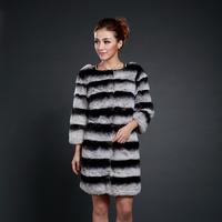 winter rabbbit chinchilla fur coat 2013 women's fur medium-long rex rabbit hair rabbit fleece outerwear