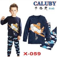new 2014 Boys planes in sky Pajamas Children Autumn -summer lycra Clothing sets wholesale 6pcs/lot Caluby sleepwear X-059