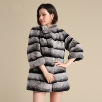winter rex rabbit chinchilla fur Winter women's full leather rex rabbit hair fur coat medium-long fashion stand collar overcoat