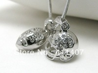 free shipping 5pcs a lot sport rhodium plated football and helmet with crystal pendant necklaces
