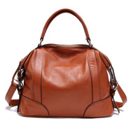 2013 winter women's genuine leather handbag fashion brief fashion all-match brown first layer of cowhide big capacity bags