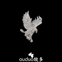 Broches Free Ship Ouduo Fashion Male Small Brooch Rhinestone Mini Suit Collar Needle Eagle Pin Buckle Accessories Jewelry Gift