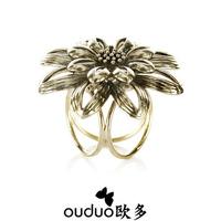 2014 Broche Hijab free Ship Fashion Royal Vintage Big Flower Silk Scarf Buckle Trinuclear Brief Ring Quality Accessories Jewelry