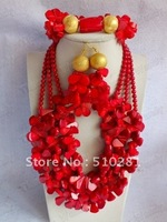 729  Fashion Strand Red Flower Coral jewelry set Coral necklace bracelet and earrings african wedding bridal jewelry set