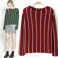 Fashion Winter High Street Women Stripe Knitted Pullovers Sweater Red Green Long Sleeve