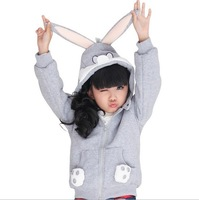 Kids winter clothing jacket for boys girls child models children's Hoody kids gray outwear cartoon Rabbit Hooded coat in neutral