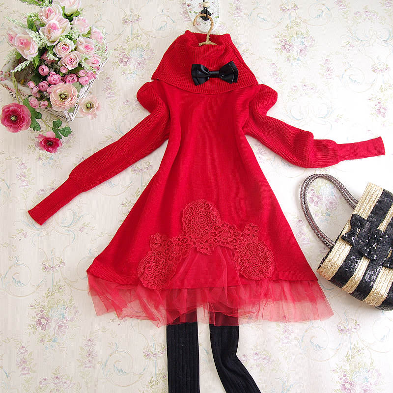 B2359 twinset belt muffler scarf bow lace turtleneck knit bottom red sweater dress medium-long sweet(China (Mainland))