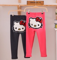 Free shipping 2013 Winter Arrival Baby Wear Girls Hello Kitty Trousers Children Cartoon Fleece Pants KT Cat Kids Warm Leggings