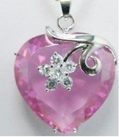 Jewellery pink zircon crystal pendant necklace