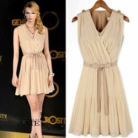 NNEW Spring & AutumnEuropean style fashion ladies vintage pleated chiffon sleeveless dress with belt