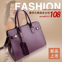 2013 luxury fashion cowhide one shoulder handbag autumn and winter fashion genuine leather female bags