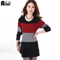 Autumn plus size clothing sweater medium-long sweater slim long-sleeve sweater slim hip basic shirt