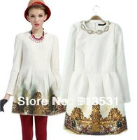 Free shipping 2013  New arrival scenery printed manual beading white long sleeve dress
