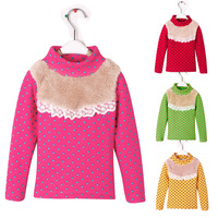 Children's clothing child plus velvet thickening thermal basic shirt female child polka dot princess turtleneck t-shirt top