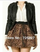 wholesale 2014 women leopard print skirts elastic waist fashion shorts pleated autumn winter skirts