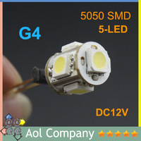 G4 5050 SMD 5 LED lights bulb DC 12V warm white and white lamp replace Halogen light for Home Car Landscape Chandelier 20pcs/lot