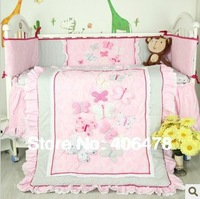 Super Lovely New Arrival 4pcs baby crib set nice embroidery 3D flower designs for baby bedding