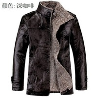 Man fur leather business integrated long big yards in the plush leather jackets. Free shipping