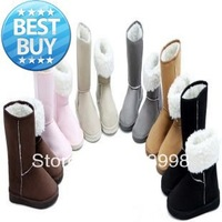 2013 HOT !free shipping  Fahion 25cm Height Winter women snow boots for Lady & Beige,Black,Gray,Coffe,Pink,Blue,Red,Brown