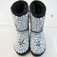 Big rhinestone pearl genuine leather snow boots women's shoes