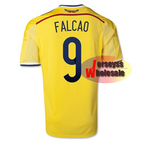Thailand Quality #9 FALCAO Colombia Jersey 2014 World Cup Jerseys Home Colombia FALCAO Wold Cup Jerseys 2014 Free Shipping