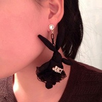 Korean trendy Vintage leather fabric lace skirt with rhinestones letter black rabbit stud earrings, 2types, fashion jewelry x67
