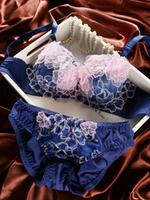 Flower Dark Blue sexy noble 3 breasted side gathering push up underwear bra set