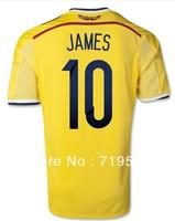 Colombia 2014 Brazil World Cup home soccer jerseys football jerseys camiseta de futbol uniform James 10 Shirt Freeshipping S-XL