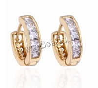 Free shipping!!!Brass Hoop Earring,Whole sale, Donut, 18K gold plated, with cubic zirconia, nickel, lead & cadmium free, 4mm
