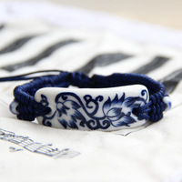 Ceramic accessories phoenix flower bracelet national trend handmade knitted bracelet blue and white porcelain jewelry