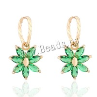 Free shipping!!!Brass Drop Earring,Jewelry Making, Flower, 18K gold plated, with cubic zirconia, nickel, lead & cadmium free