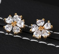 Free shipping!!!Brass Stud Earring,Fashion, Flower, 18K gold plated, with cubic zirconia, nickel, lead & cadmium free, 11mm