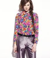 New Spring Autumn Women Chiffon Blouse Shirt Floral Printed Long-sleeve Ladies Brand Blouses Shirts