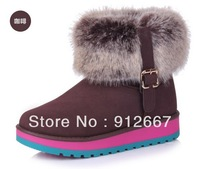 Coffee knee-high snow boots fox fur boots fashion snow Women women's shoes female fur boots three-color hasp