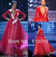 2014 Sexy V-neck Long Sleeves Vestidos de noche en Miss Universo Celebrity Dresses A-line Chiffon Red Velvet Evening Gowns