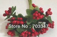 2013 New! 720 pcs=60 BUNCHES X  Red Peps Berry Spray  w/wired stem ,SCRAPBOOKING  Flower Card Making Flower *Free Shipping*