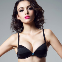 Fashion underwear female stripe plunge pure cotton comfortable breathable thin thick sexy push up bra cover