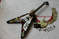 Newest Black Beauty Flower Flying V Electric Guitar High Quality Cheap Free Shipping