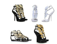 Free shipping 2013 women ladies girls wedges white Design gold leaf embellished high heel pumps wings ankle strap sandal bootie