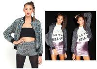 ORIGINAL Punk Rock Women Sequin Bomber Biker Motorcycle Disco Clubwear Jacket Outfit Coat With Zipper Batwing Sleeve Wholesale