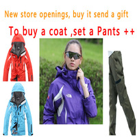 Women Two Pieces Windproof and Waterproof Winter Outdoor Sport Jacket Set Ski Suit And Strap Pants S/M/L/XL/XXL