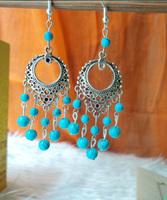 Handmade accessories tibetan silver drop earring long design tassel turcos tibetan jewelry earrings yc227