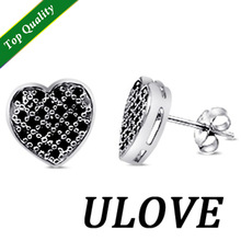 925 Sterling Silver Black Simulated Diamond Heart Love Stud Earrings for Women Fashion Earring 2014 Free Shipping