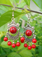 Yunnan national accessories stone pine tibetan jewelry silver earrings yc054 married wedding small gift
