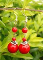 National trend accessories handmade tibetan silver women's miao silver red color stone earrings drop earring yc107