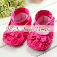 Lovely Pink pre-walker Girls Dress Princess Shoes Infant Baby Shoes Toddler shoes soft sole Rose flower Free Shipping BOS.lk005
