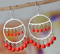 National trend accessories earrings tibetan jewelry tibetan silver handmade big circle drop earring yc055