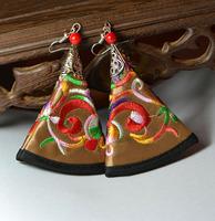National trend vintage earrings tibetan jewelry silver jewelry chinese miaoxiu style fabric miao silver drop earring yc319