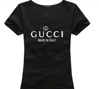 Woman 100% cotton flock printing letter logo short-sleeve T-shirt basic t shirt hot sale in fashion 6colors